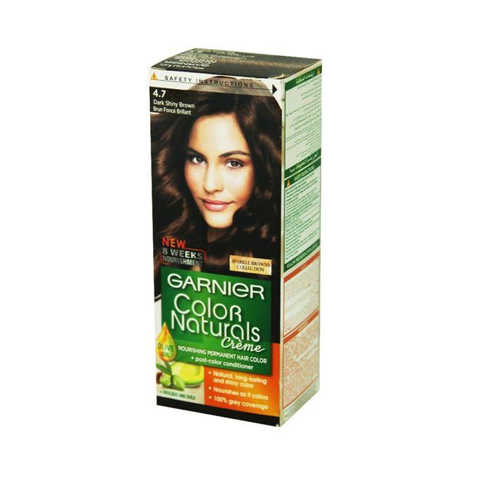 Garnier صبغة شعر كولور ناتشرالز كريم الدائمة – 4.7 بني غامق لامع